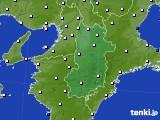 奈良県のアメダス実況(風向・風速)(2015年01月16日)