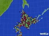 北海道地方のアメダス実況(日照時間)(2015年02月03日)