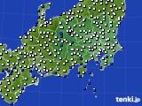 関東・甲信地方のアメダス実況(風向・風速)(2015年02月12日)