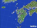 九州地方のアメダス実況(風向・風速)(2015年02月21日)