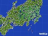 関東・甲信地方のアメダス実況(風向・風速)(2015年07月14日)
