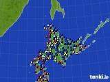 北海道地方のアメダス実況(日照時間)(2015年08月11日)