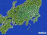 関東・甲信地方のアメダス実況(風向・風速)(2015年08月11日)