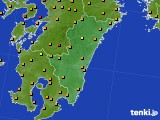 2015年08月16日の宮崎県のアメダス(気温)