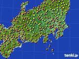 関東・甲信地方のアメダス実況(気温)(2015年08月20日)