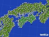 四国地方のアメダス実況(風向・風速)(2015年09月24日)