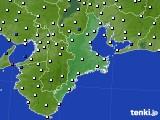 2015年10月01日の三重県のアメダス(風向・風速)