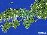 2015年10月04日の近畿地方のアメダス(風向・風速)