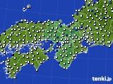 2015年10月06日の近畿地方のアメダス(風向・風速)