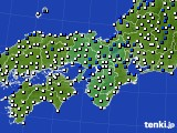 2015年10月07日の近畿地方のアメダス(風向・風速)