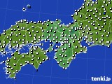 2015年10月10日の近畿地方のアメダス(風向・風速)