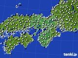 2015年10月11日の近畿地方のアメダス(風向・風速)