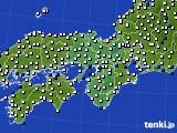 2015年10月12日の近畿地方のアメダス(風向・風速)