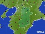2015年10月13日の奈良県のアメダス(日照時間)