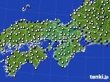 2015年10月13日の近畿地方のアメダス(風向・風速)