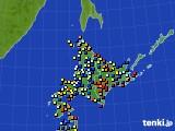 北海道地方のアメダス実況(日照時間)(2015年10月14日)