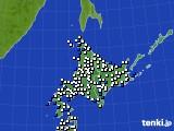 北海道地方のアメダス実況(風向・風速)(2015年10月14日)