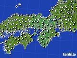2015年10月14日の近畿地方のアメダス(風向・風速)