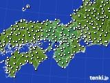 2015年10月15日の近畿地方のアメダス(風向・風速)