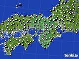 2015年10月16日の近畿地方のアメダス(風向・風速)