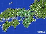 2015年10月18日の近畿地方のアメダス(風向・風速)