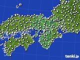 2015年10月19日の近畿地方のアメダス(風向・風速)