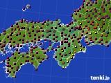 2015年10月21日の近畿地方のアメダス(日照時間)