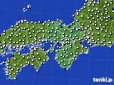 2015年10月21日の近畿地方のアメダス(風向・風速)