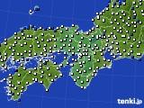 2015年10月24日の近畿地方のアメダス(風向・風速)