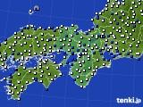 2015年10月25日の近畿地方のアメダス(風向・風速)