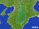 2015年10月27日の奈良県のアメダス(気温)