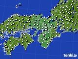 2015年12月16日の近畿地方のアメダス(風向・風速)