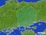 岡山県のアメダス実況(気温)(2015年12月19日)