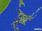 北海道地方のアメダス実況(風向・風速)(2015年12月19日)
