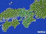 2015年12月24日の近畿地方のアメダス(風向・風速)