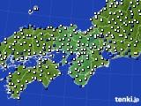 2015年12月25日の近畿地方のアメダス(風向・風速)
