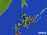 北海道地方のアメダス実況(日照時間)(2016年01月13日)