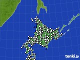北海道地方のアメダス実況(風向・風速)(2016年01月13日)