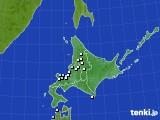 北海道地方のアメダス実況(降水量)(2016年02月18日)
