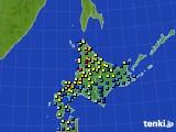 北海道地方のアメダス実況(積雪深)(2016年02月18日)