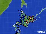 北海道地方のアメダス実況(日照時間)(2016年02月18日)