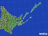 2016年06月08日の道東のアメダス(風向・風速)