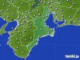 2016年06月19日の三重県のアメダス(風向・風速)