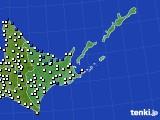 2016年06月21日の道東のアメダス(風向・風速)