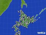 北海道地方のアメダス実況(風向・風速)(2016年08月01日)
