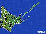 道東のアメダス実況(風向・風速)(2016年08月07日)