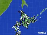 北海道地方のアメダス実況(風向・風速)(2016年08月08日)