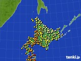 北海道地方のアメダス実況(気温)(2016年08月09日)