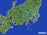 関東・甲信地方のアメダス実況(風向・風速)(2016年08月09日)
