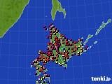 北海道地方のアメダス実況(日照時間)(2016年08月10日)